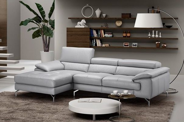 Armiead Grey Leather Sectional, by Orren Ellis