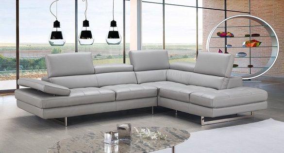 Ashburton Grey Leather Sectional by Orren Ellis