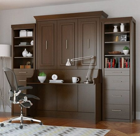 Britton Portrait Wall Bed with Desk and Two Towers, by Xtraroom