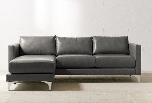 Chamberlin Recycled Grey Leather Sectional Sofa, by Urban Outfitters