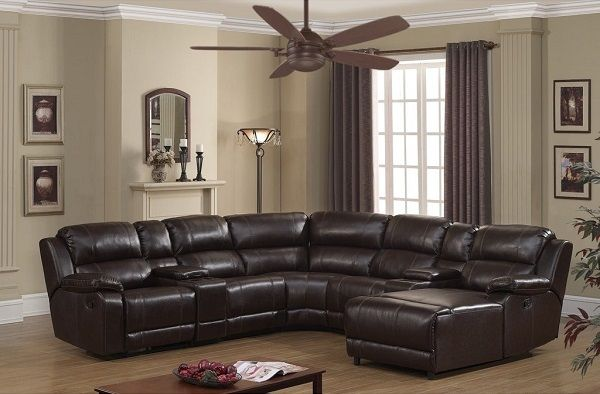 Colton Dark Brown Bonded Leather Sectional Sofa by AC Pacific