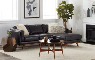 Del Ray Leather Sectional with Chaise by Strick & Bolton