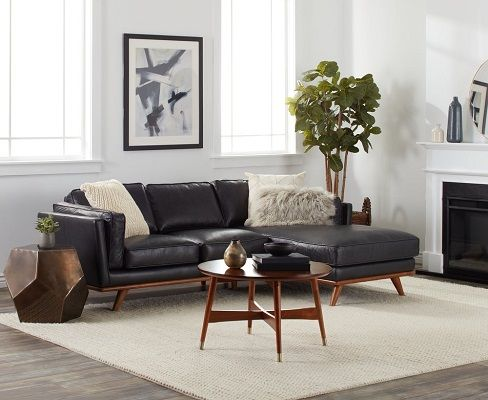 Del Ray Leather Sectional with Chaise in Oxford Black by Strick & Bolton