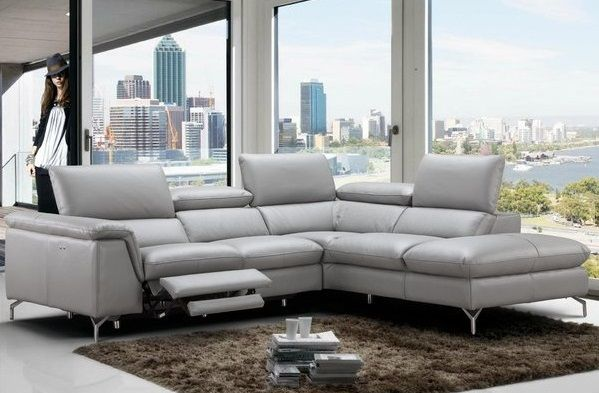 Dupont Genuine Grey Leather Reclining Sectional Wade Logan