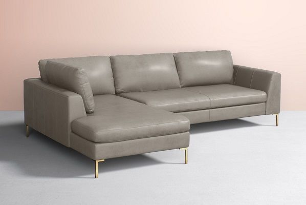Edlyn Grey Leather Chaise Sectional, by Anthropologie