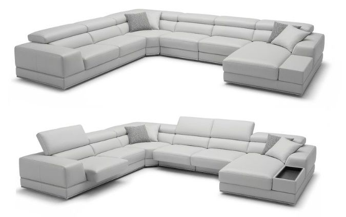 Grey Leather Right Hand Facing Sectional, by Wade Logan