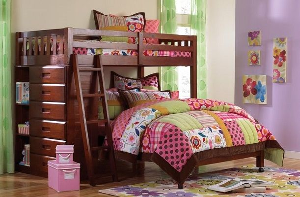 Kroger Twin over Full L Shaped Bunk Bed with Drawers Viv + Rae