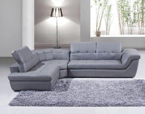 Lola Leather Grey Sectional by Orren Ellis