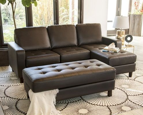 Malden Tufted Leather Reversible Sectional and Ottoman by Abbyson