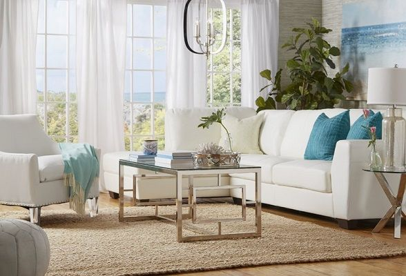 Montgomery White Leather Sectional with Chaise by Wade Logan