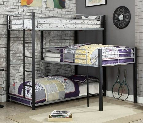 Nathan L-shaped Twin Bunk Bed, by Furniture of America