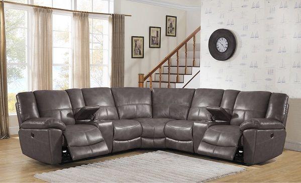 Tahoe Premium Top Grain Grey Leather Power Reclining Sectional Sofa
