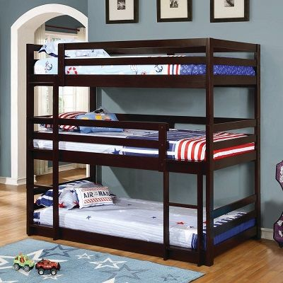 Taylor & Olive Hale Cappuccino 3 Tier Twin Bunk Bed