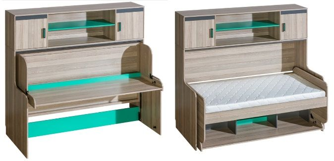 Ultimo Kids Twin Murphy bed with desk and mattress, by Maxima House