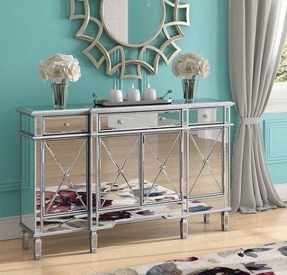 Castelli Mirrored Sideboard, by House of Hampton