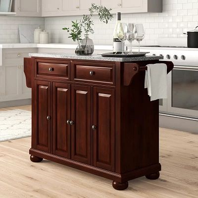 Hedon Kitchen Island with Granite Top, by Three Posts Shop