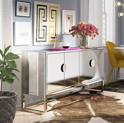Stefon Mirrored Buffet Table by Everly Quinn