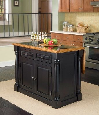 Whistle Stop Distressed Oak and Granite Top Black Wooden Kitchen Island, by The Gray Barn