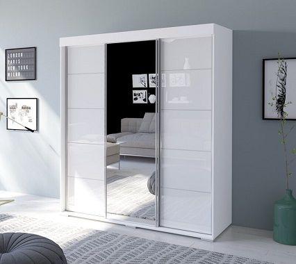 neillsville 3 door modern high gloss armoire