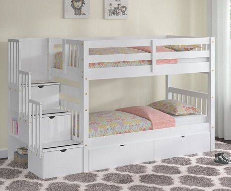 tena twin over twin stairway bunk bed with drawers