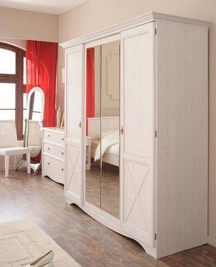 Marion 4 Door Wardrobe Cabinet with Mirror, by Parisot