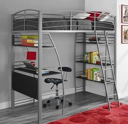 Avenue Greene Sansa Twin Loft Bed with Integrated Desk and Shelves