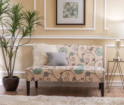 Dejon Modern Floral Upholstered Fabric Love Seat