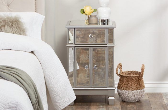 Abbyson Sophie Mirrored Accent Table Best Mirrored Nighstands