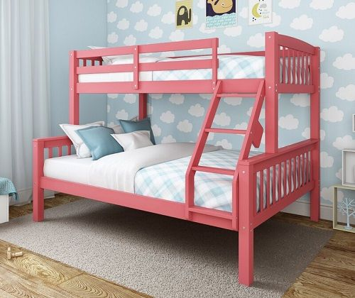 Edson Twin Over Full Bed in Pink, by Harriet Bee