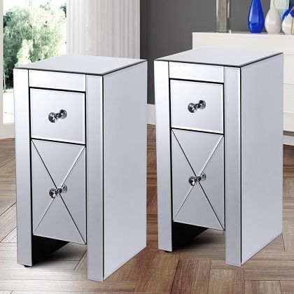 Jaxpety Set of 2 Mirrored Nightstand 2 Drawer Crystal Accent Silver Side Table