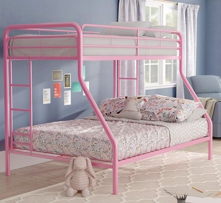 Jeanna Twin Over Full Bunk Bed in Pink by Zoomie Kids