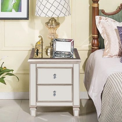Laurine 2 Drawer Silver Mirrored Nightstand