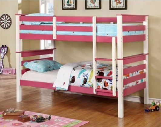 Leuan Twin over Twin Bunk Bed in Pink