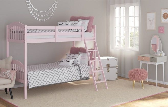 Longhorn Hardwood Twin Bunk Bed in Pink, by Storkcraft