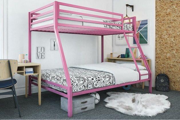Makenzie Twin over Full Bunk Bed in Pink, by Harriet Bee
