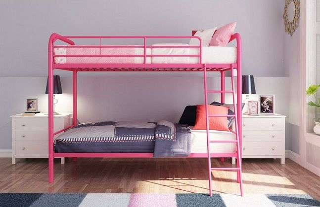 Maryanne Twin Over Twin Metal Bunk Bed in Pink, by Viv + Rae