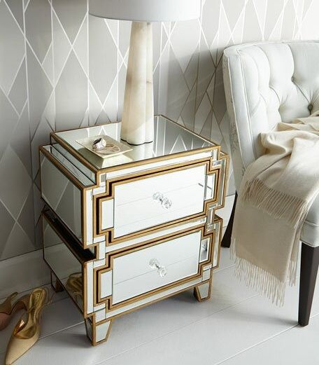 Marylhurst 2 Drawer Silver and Gold Mirrored Nightstand