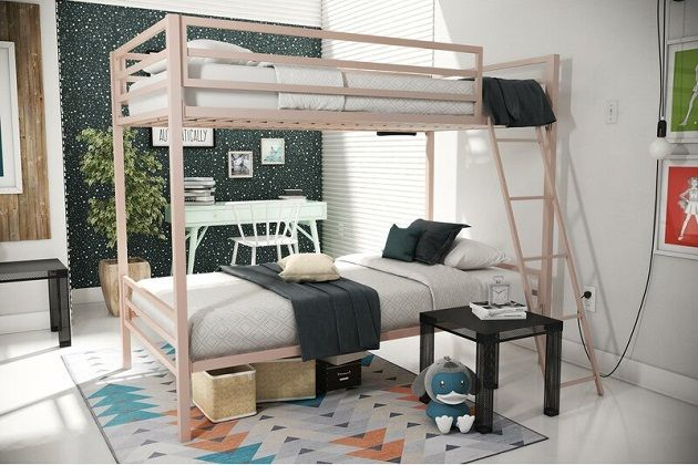 Maxwell Twin over Twin Bunk Bed in Pink, by Novogratz