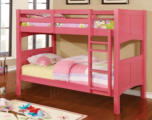 Melissa Twin Over Twin Youth Bunk Bed in Pink