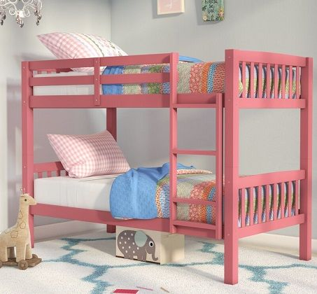 Nicholson Twin over Twin Bunk Bed in Pink, by Harriet Bee