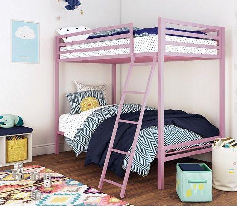Premium Twin Over Twin Pink Metal Bunk Bed