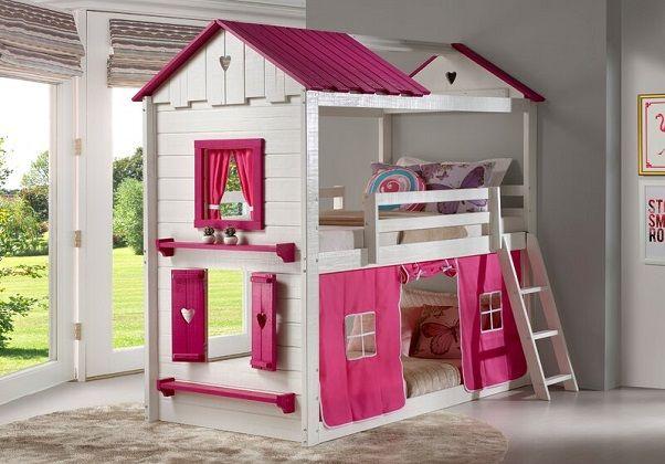 Schoonmaker Twin over Twin House Bunk Bed in Pink, Zoomie Kids