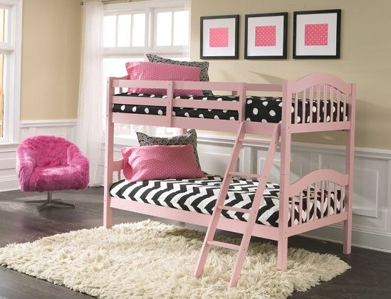 South Lamar Twin over Twin Bunk Bed in Pink, by Harriet Bee