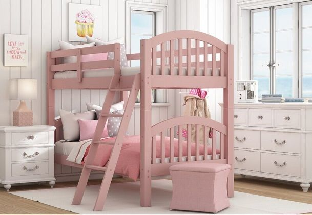 Susie Twin over Twin Pink Bunk Bed, by Viv + Rae