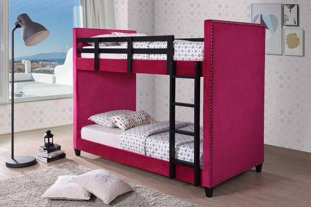 Travon Upholstered Bunk Bed in Pink, Harriet Bee