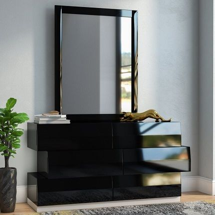 Black Matt 6 Drawer Dresser with Mirror, by Wade Logan