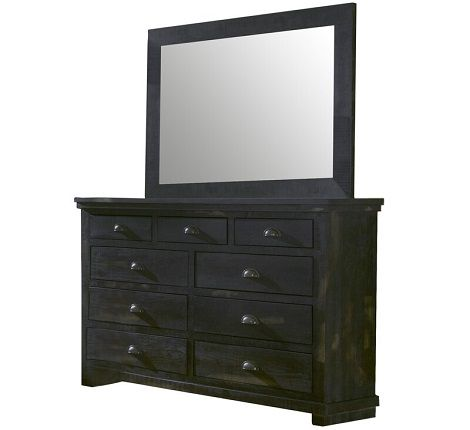 Castagnier 9 Drawer Balck Dresser with Mirror by Lark Manor