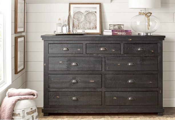 Distressed Black Rustic Castagnier 9 Drawer Double Dresser, by Lark Manor