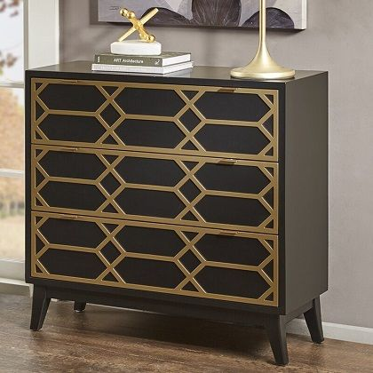 Dreyer 3 Drawer Black and Gold Chest, by Willa Arlo Interiors