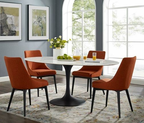 Hesson Oval Faux Marble Dining Table, by George Oliver